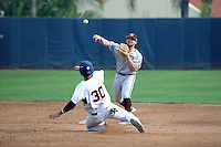 Ryne Birk (2) of the Texas A&M Aggies throws to first base after forcing out Nick Costello (30) of the Pepperdine Waves at second base during a game at Eddy D. Field Stadium on February 26, 2016 in Malibu, California. Pepperdine defeated Texas A&M, 7-5. (Larry Goren/Four Seam Images)