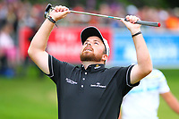 Shane Lowry reacts to missing his putt on the 18th green during the BMW PGA Golf Championship at Wentworth Golf Course, Wentworth Drive, Virginia Water, England on 28 May 2017. Photo by Steve McCarthy/PRiME Media Images.
