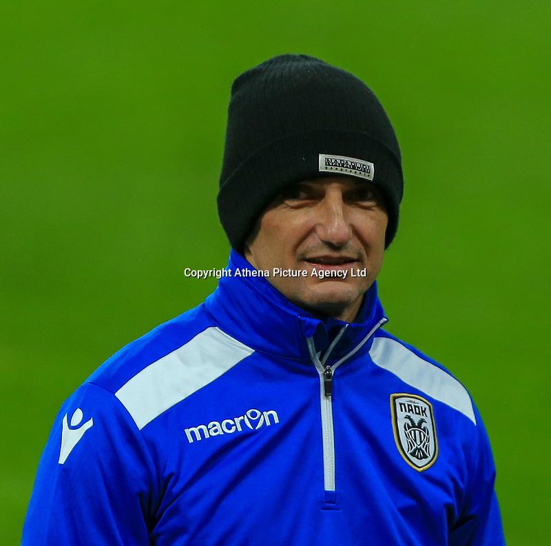 Razvan Lucescu of PAOK ready to oversee training at Stamford Bridge, London