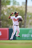 Baltimore Orioles second baseman Robert Andino (15) throws to first base during a Spring Training exhibition game against the Dominican Republic on March 7, 2017 at Ed Smith Stadium in Sarasota, Florida.  Baltimore defeated the Dominican Republic 5-4.  (Mike Janes/Four Seam Images)