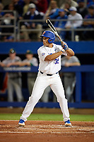 Florida Gators first baseman Keenan Bell (32) at bat during a game against the Siena Saints on February 16, 2018 at Alfred A. McKethan Stadium in Gainesville, Florida.  Florida defeated Siena 7-1.  (Mike Janes/Four Seam Images)
