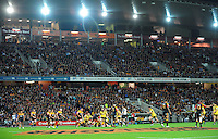 A general view of the main stand during the Super 15 rugby match between the Chiefs and Hurricanes at Waikato Stadium, Hamilton, New Zealand on Saturday, 28 April 2011. Photo: Dave Lintott / lintottphoto.co.nz