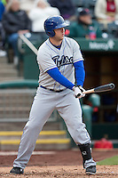 Kiel Roling #18 of the Tulsa Drillers at bat during a game against the Springfield Cardinals at Hammons Field on May 4, 2013 in Springfield, Missouri. (David Welker/Four Seam Images)
