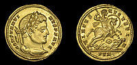 BNPS.co.uk (01202 558833)<br /> Pic:  DixNoonanWebb/BNPS <br /> <br /> The first Christian Emperor of the Roman world.<br /> <br /> 1600 year old coin looks as good as new...<br /> <br /> An extremely rare Roman gold coin that was discovered by a metal detectorist on a farm has sold at auction for almost £20,000.<br /> <br /> The 4th century AD treasure was found 1ft below the surface of a field near Wanstrow, Somerset.<br /> <br /> The Solidus coin carries the portrait of Constantine I who was the first ruler to embrace the cult of Christianity.