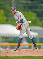 9 July 2015: Mahoning Valley Scrappers pitcher Devon Stewart on the mound against the Vermont Lake Monsters at Centennial Field in Burlington, Vermont. The Scrappers defeated the Lake Monsters 8-4 in 12 innings of NY Penn League play. Mandatory Credit: Ed Wolfstein Photo *** RAW Image File Available ****