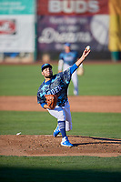 Ogden Raptors starting pitcher Antonio Hernandez (27) delivers a pitch to the plate against the Rocky Mountain Vibes at Lindquist Field on July 5, 2019 in Ogden, Utah. The Raptors defeated the Vibes 6-4. (Stephen Smith/Four Seam Images)