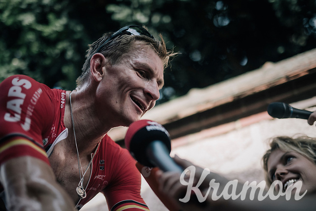 André Greipel (DEU/Lotto-Soudal) interviewed after the stage while warming down on the rollers<br /> <br /> 104th Tour de France 2017<br /> Stage 6 - Vesoul › Troyes (216km)