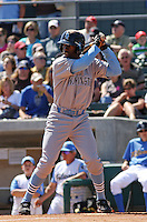 Patrick Norris #23 of the Wilmington Blue Rocks hitting in a game against the Myrtle Beach Pelicans on April 11, 2010  in Myrtle Beach, SC.