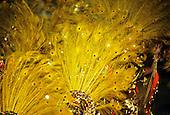 Rio de Janeiro, Brazil. Carnival samba school parade; bright yellow peacock feather and gold headdresses.
