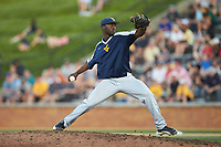West Virginia Mountaineers starting pitcher Isaiah Kearns (41) in action against the Wake Forest Demon Deacons in Game Four of the Winston-Salem Regional in the 2017 College World Series at David F. Couch Ballpark on June 3, 2017 in Winston-Salem, North Carolina. The Demon Deacons walked-off the Mountaineers 4-3. (Brian Westerholt/Four Seam Images)