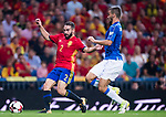 Daniel Carvajal of Spain fights for the ball with Leonardo Spinazzola of Italy during their 2018 FIFA World Cup Russia Final Qualification Round 1 Group G match between Spain and Italy on 02 September 2017, at Santiago Bernabeu Stadium, in Madrid, Spain. Photo by Diego Gonzalez / Power Sport Images