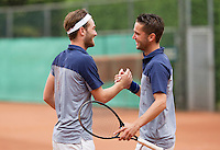 August 17, 2014, Netherlands, Raalte, TV Ramele, Tennis, National Championships, NRTK, Mens Doubles Final : Stijn de Gier/Jesse Timmermans (NED) win and celebrate<br /> Photo: Tennisimages/Henk Koster