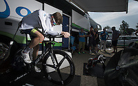 Luke Durbridge (AUS/Orica-GreenEDGE) warming up while staying cooled (air-conditioned?) in the (un-typically dutch) searing heat of 33°C.<br /> <br /> stage 1 prologue: Utrecht (13.8km)<br /> Tour de France 2015