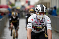 Edoardo Affini (ITA/Jumbo-Visma) is the ceremonial  white jersey wearer today as Filippo Ganna already wears the pink one as well > at the rained down race start in Biella<br /> <br /> 104th Giro d'Italia 2021 (2.UWT)<br /> Stage 3 from Biella to Canale (190km)<br /> <br /> ©kramon