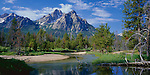 Sawtooth National Recreation Area, ID<br /> Mount McGown reflecting in calm backwaters of Stanley Creek in morning light