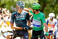 July 9th 2021. Carcassonne, Languedoc, France;  POLITT Nils (GER) of BORA - HANSGROHE & CAVENDISH Mark (GBR) of DECEUNINCK - QUICK-STEP  during stage 13 of the 108th edition of the 2021 Tour de France cycling race, a stage of 219,9 kms between Nimes and Carcassonne.