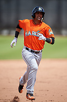 Miami Marlins J.C. Millan (75) during a Minor League Spring Training game against the Washington Nationals on March 28, 2018 at FITTEAM Ballpark of the Palm Beaches in West Palm Beach, Florida.  (Mike Janes/Four Seam Images)