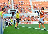 April 28, 2013: Houston Dynamo mid fielder Giles Barnes #23 celebrates game tying goal during second half of Major League Soccer match in Houston, TX. Houston Dynamo draw 1-1 against Colorado Rapids.