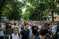 Belarus, 06.08.2020, Minsk. Präsidentschaftswahl am 9. August: Amtsinhaber Lukaschenko versucht mit allen Tricks, Wahlkundgebungen der Opposition zu verhindern. Trotzdem kommt es zu einer riesigen Versammlung im Kiewer Park. - Ankunft der Oppositionsfuehrerin Maria Kolesnikowa. | Presidential elections on August 9: Incumbent president Lukashenka tries to impede oppositional election gatherings by any means. Yet a massive manifestation happens to be held in Kiev park. -Opposition leader Maria Kolesnikova arriving.<br /> © Denis Vejas/EST&OST