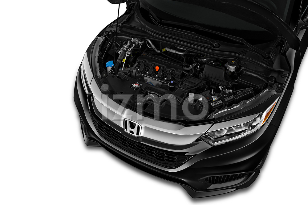 Car stock 2019 Honda HR-V LX 5 Door SUV engine high angle detail view