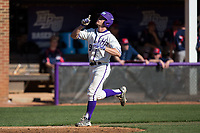 Jordan Sergent (9) of the High Point Panthers points to the heavens as he reaches home plate after hitting a 2-run home run against the NJIT Highlanders at Williard Stadium on February 19, 2017 in High Point, North Carolina.  The Panthers defeated the Highlanders 6-5.  (Brian Westerholt/Four Seam Images)