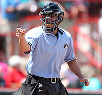 Home plate umpire Travis Hatch during a game between the Erie Seawolves and Richmond Flying Squirrels at Jerry Uht Park on July 27, 2011 in Erie, Pennsylvania.  Richmond defeated Erie 4-2.  (Mike Janes/Four Seam Images)