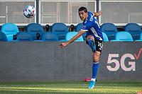 SAN JOSE, CA - MAY 15: Cristian Espinoza #10 of the San Jose Earthquakes passes the ball during a game between San Jose Earthquakes and Portland Timbers at PayPal Park on May 15, 2021 in San Jose, California.