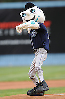 Asheville Tourists new mascot Mr. Moon throws out the first pitch before a game against  the Lexington Legends at McCormick Field in Asheville,  North Carolina;  April 15, 2011.  Asheville defeated Lexington 2-1.  Photo By Tony Farlow/Four Seam Images
