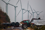 © Joel Goodman . 31/01/2012 . Penistone , UK . The Royd Moor Wind Farm, in South Yorkshire, which overlooks the town of Penistone and consists of thirteen 500 kW turbines. Photo credit : Joel Goodman