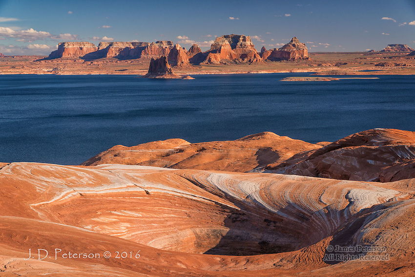 View from Weathering Pit Ridge, Lake Powell © 2016 James D Peterson.  Here's a late afternoon look to the south from a high ridge above the lake.  This ridge sports a number of these deep pits that were carved by wind and weather.