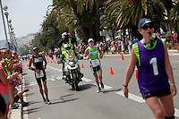 Tine Deckers running at Ironman France 2012, Nice, France, 24 June 2012. Tine won first female place.