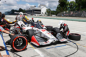 #98: Marco Andretti, Andretti Herta with Marco & Curb-Agajanian Honda, pit stop