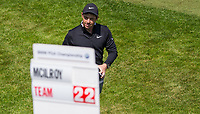 Rory McIlroy with the final score during the BMW PGA PRO-AM GOLF at Wentworth Drive, Virginia Water, England on 23 May 2018. Photo by Andy Rowland.