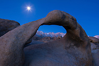 Moon and Mobius arch, Alabama Hills, Sierra Nevada, California.