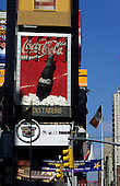 New York, USA. Coca Cola advertisment, the oldest advert in Times Square, on building in centre of Times Square.