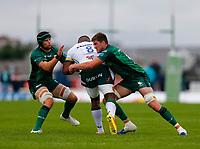 11th September 2021; Galway Greyhound Stadium, Connacht, Galway, Ireland; Pre-season rugby union, Connacht versus London irish; Oisin Dowling and Eoghan Masterson (Connacht) stop Albert Tuisue (London Irish)