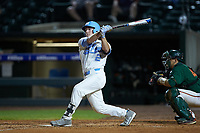 Adam Pate (2) of the North Carolina Tar Heels follows through on his swing against the Miami Hurricanes in the second semifinal of the 2017 ACC Baseball Championship at Louisville Slugger Field on May 27, 2017 in Louisville, Kentucky. The Tar Heels defeated the Hurricanes 12-4. (Brian Westerholt/Four Seam Images)