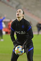 goalkeeper Loes Geurts (23) of The Netherlands  pictured during a friendly female soccer game between the national teams of Belgium , called the Red Flames and The Netherlands , called the Oranje Leeuwinnen in a pre - bid tournament called Three Nations One Goal with the national teams from Belgium , The Netherlands and Germany towards a bid for the hosting of the 2027 FIFA Women's World Cup , on Thursday 18 th of February 2021  in Brussels , Belgium . PHOTO SPORTPIX.BE | SPP | DIRK VUYLSTEKE