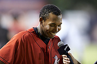 Bryce Bush (30) of the Kannapolis Intimidators is interviewed on the field following his walk-off hit against the Rome Braves at Kannapolis Intimidators Stadium on July 2, 2019 in Kannapolis, North Carolina.  The Intimidators walked-off the Braves 5-4. (Brian Westerholt/Four Seam Images)