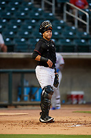 Birmingham Barons catcher Alfredo Gonzalez (1) during a game against the Tennessee Smokies on August 16, 2018 at Regions FIeld in Birmingham, Alabama.  Tennessee defeated Birmingham 11-1.  (Mike Janes/Four Seam Images)