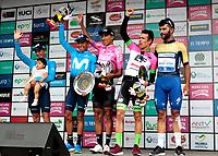 MANIZALES - COLOMBIA - 11 - 02 - 2018: Egan Bernal (Cent.) ciclista colombiano, del Equipo Sky, se adjudica la Colombia Oro y Paz UCI 2.1 / Egan Bernal (C) Colombian cyclist, Team Sky, is awarded the Colombia Oro y Paz UCI 2.1. Photo: VizzorImage /Santiago Osorio /Cont.