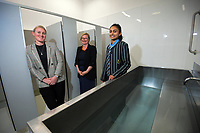 From left, Cricket Wellington general manager and former White Fern Liz Green, ICC Women's Cricket World Cup chief executive Andrea Nelson and Wellington Blaze and Student Lead of the Cricket Wellington Youth Leaders Programme Dhriti Girish, in the revamped RA Vance Stand unisex shower block. 2022 Women's Cricket World Cup tournament venues presser at the Basin Reserve in Wellington, New Zealand on Tuesday, 17 November 2020. Organisers for the 2022 Women's Cricket World Cup are welcoming a $2 million funding boost that will go towards upgrading player facilities at the five New Zealand venues for the tournament. Photo: Dave Lintott / lintottphoto.co.nz