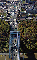 aerial photograph of the George Washington bridge toll plazas, Fort Lee, New Jersey