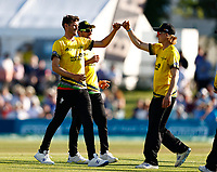 David Payne (L) of Gloucestershire is congratulated after taking the wicket of Alex Blake during Kent Spitfires vs Gloucestershire, Vitality Blast T20 Cricket at The Spitfire Ground on 13th June 2021