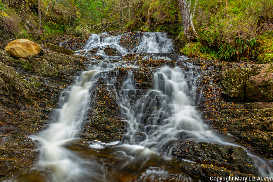 Glen Affric, Western Highlands, Scotland: A cascading falls along the Allt na Bodachan near Plodda Falls