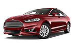 Stock pictures of low aggressive front three quarter view of a 2015 Ford Mondeo Titanium 5 Door Hatchback Low Aggressive