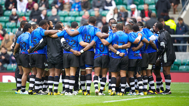 The Flying Fijians prepare to take on England in the QBE International  at Twickenham on Saturday 10th November 2012 (Photo by Rob Munro)