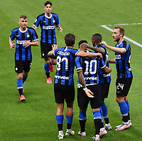 Lautaro Martinez of FC Internazionale celebrates with team mates after scoring the goal of 2-0 during the Serie A football match between FC Internazionale and UC Sampdoria at Stadio San Siro in Milano ( Italy ), June 21th, 2020. Play resumes behind closed doors following the outbreak of the coronavirus disease. <br /> Photo Image/Insidefoto