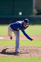 Los Angeles Dodgers pitcher Juan Morillo (8) follows through on his delivery during an Instructional League game against the Chicago White Sox on September 30, 2017 at Camelback Ranch in Glendale, Arizona. (Zachary Lucy/Four Seam Images)