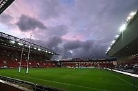 30th September 2020; Ashton Gate Stadium, Bristol, England; Premiership Rugby Union, Bristol Bears versus Leicester Tigers; clouds gather over Ashton Gate Stadium